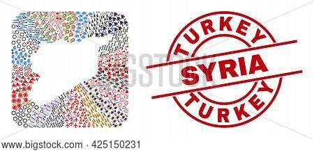 Vector Mosaic Syria Map Of Different Icons And Turkey Syria Stamp. Collage Syria Map Constructed As
