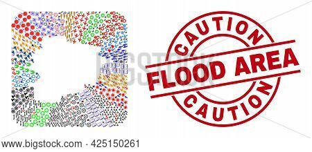 Vector Collage Andorra Map Of Different Icons And Caution Flood Area Badge. Collage Andorra Map Crea