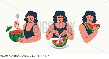 Set Of Characters Women Eating Watermelon. How To Eat A Watermelon. Ways Of Eating Fruit. Summer Con