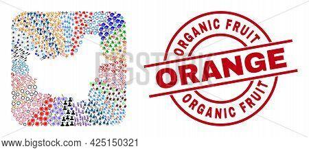 Vector Mosaic Borneo Map Of Different Symbols And Organic Fruit Orange Badge. Mosaic Borneo Map Crea