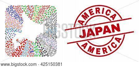 Vector Mosaic Hokkaido Map Of Different Pictograms And America Japan Stamp. Mosaic Hokkaido Map Desi