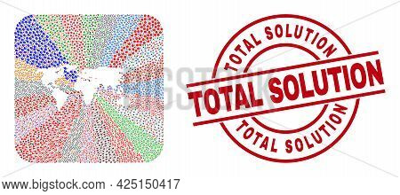 Vector Collage World Map Of Different Pictograms And Total Solution Seal Stamp. Collage World Map Co