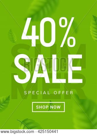 Summer Sale Banner Background. Vector Summer Clearance 40 Percent Tropical Special Offer Design