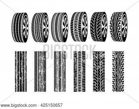 Vector Black Rubber Tyre Texture. Black Tire Design Car Texture Silhouette