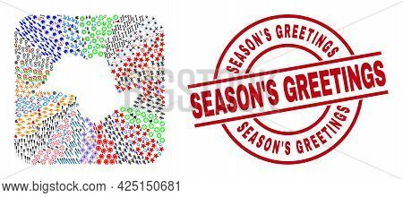 Vector Collage Sao Paulo State Map Of Different Pictograms And Seasons Greetings Stamp. Collage Sao