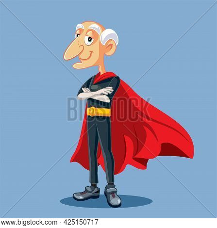 Superhero Grandfather Having Superpowers Vector Cartoon Illustration