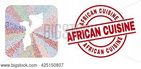 Vector Collage Mozambique Map Of Different Pictograms And African Cuisine Seal. Mosaic Mozambique Ma