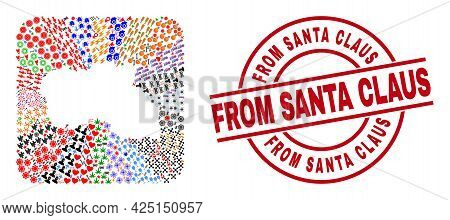 Vector Collage Santa Maria Island Map Of Different Symbols And From Santa Claus Seal Stamp. Collage