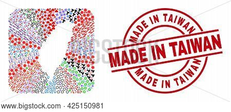 Vector Mosaic Taiwan Map Of Different Symbols And Made In Taiwan Seal Stamp. Mosaic Taiwan Map Const