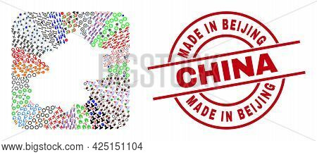 Vector Mosaic Beijing City Map Of Different Symbols And Made In Beijing China Seal Stamp. Mosaic Bei