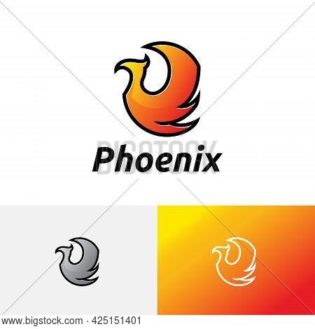 Phoenix Fire Flame Wing Flying Magic Bird Logo