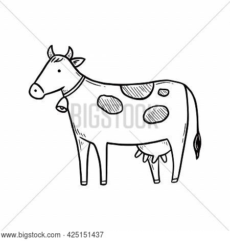 Hand Drawn Cute Farm Cow. Doodle Sketch Style. Drawing Line Simple Cow Icon. Isolated Vector Illustr