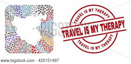 Vector Mosaic Cadiz Province Map Of Different Icons And Travel Is My Therapy Seal Stamp. Mosaic Cadi