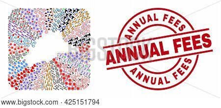 Vector Collage Malaga Province Map Of Different Symbols And Annual Fees Badge. Collage Malaga Provin