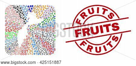 Vector Collage Kamchatka Map Of Different Icons And Fruits Seal Stamp. Collage Kamchatka Map Designe
