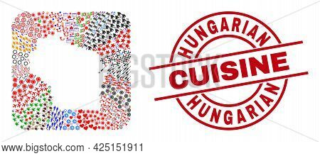Vector Mosaic Wisconsin State Map Of Different Icons And Hungarian Cuisine Stamp. Mosaic Wisconsin S