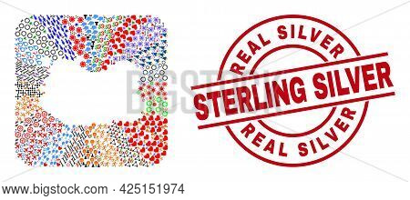 Vector Collage Ciudad Real Province Map Of Different Symbols And Real Silver Sterling Silver Seal. C