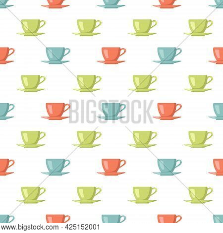 Seamless Pattern With Multi Coloured Cups And Saucers. Prints For Kitchen Utensils, Home Design, Tex