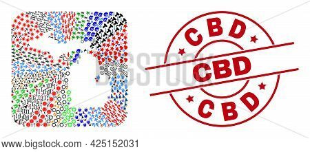 Vector Collage Michigan State Map Of Different Symbols And Cbd Seal Stamp. Collage Michigan State Ma