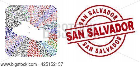 Vector Mosaic El Salvador Map Of Different Pictograms And San Salvador Seal Stamp. Mosaic El Salvado