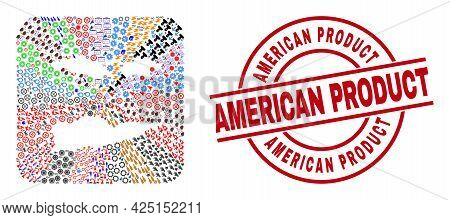 Vector Collage American Virgin Islands Map Of Different Pictograms And American Product Badge. Colla