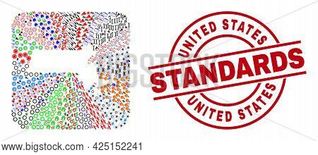 Vector Collage Massachusetts State Map Of Different Pictograms And United States Standards Stamp. Co