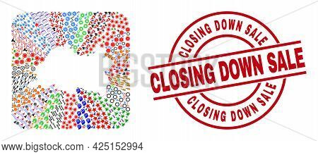 Vector Collage Tatarstan Map Of Different Pictograms And Closing Down Sale Badge. Collage Tatarstan