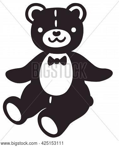 Vector Stylized Simplified Image Of Cute Teddy Bear