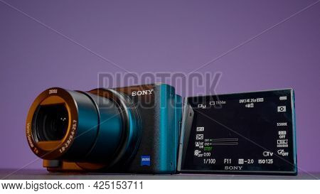 Russia, Moscow - May 5, 2021: New Model Of Professional Camera With Screen. Action. Professional Cam
