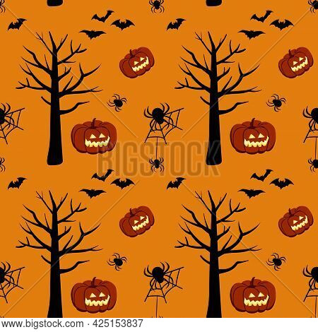 Bright Dark Pattern With Pumpkins, Bats, Trees And Spiders On An Orange Background. Halloween Festiv