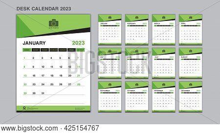 Planner Design, Set Desk Calendar 2023 Template Vector, Wall Calendar 2023 Year, Week Start On Sunda