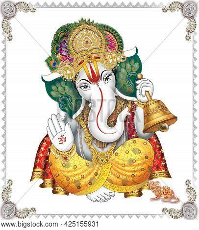 Indian God Ganesha, Indian Lord Ganesh, Indian Mythological Image Of Ganesha.
