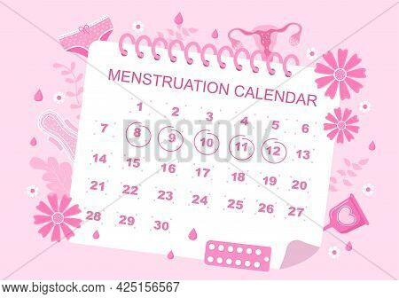 Menstruation Period Calendar Women To Check Date Cycle. Illustration Of Reproductive Organs Female,