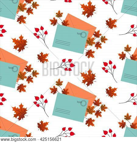 Pattern With Postal Envelopes And Autumn Leaves. Vector Illustration. For Packaging, Fabrics, Prints