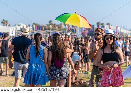 Tel Aviv, Israel - June 25, 2021: 23rd Annual Tel Aviv Pride Week. At The Parade, People Walking, Da