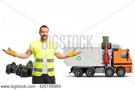 Waste collector in front of a garbage truck gesturing with hands isolated on white background