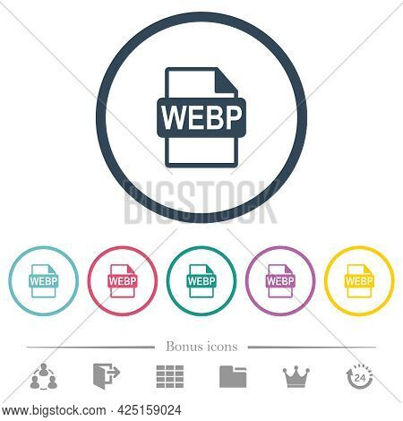 Webp File Format Flat Color Icons In Round Outlines. 6 Bonus Icons Included.