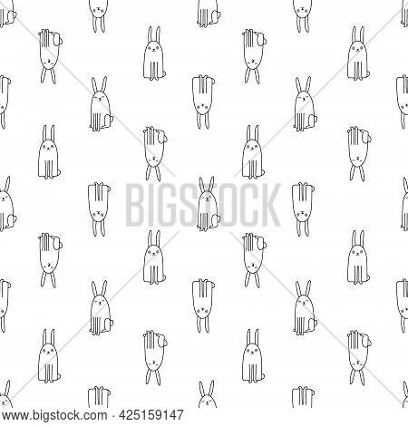 Seamless Pattern With Cute Hand Drawn Bunnies. Creative Childish Background. Perfect For Kids Appare