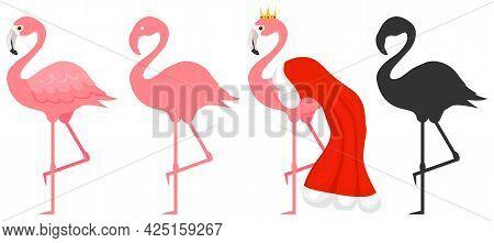 Flamingos, Set Of Pink Flamingos, Black Silhouette Of Flamingos. Vector, Cartoon Illustration. Vecto