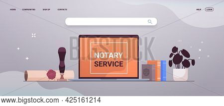 Notary Service Banner With Legacy Stamp Sealed Document Legal Trust And Public Pen Near Laptop