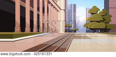 Closeup Of Government Building With Columns Law And Justice Legal Advice Concept Cityscape Backgroun