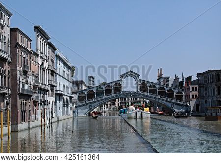 Viserba - Rimini, Italy - May 25, 2013: Sailing Down The Grand Canal In The 1:5 Scale Reproduction O