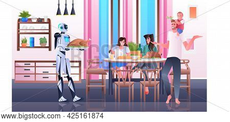 Robot Housewife Cooking And Serving Meals To Family Artificial Intelligence Technology Concept