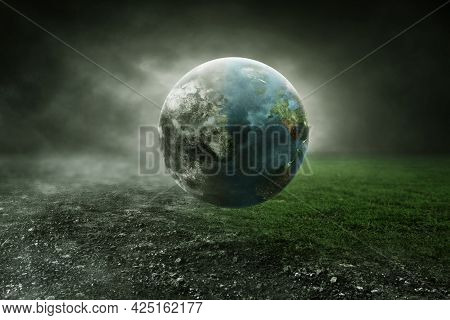 Global Warming. Blue Earth Climate Change Background