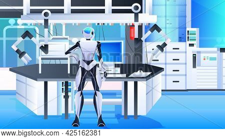 Robotic Doctor Surgeon In Clinic Surgery Room Medicine Healthcare Artificial Intelligence Technology