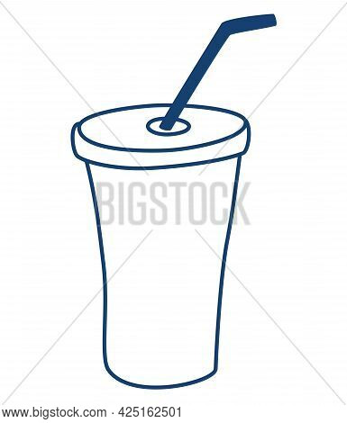 Plastic Cup For Liquid With Straw. Silhouette Of A Glass With A Straw. Fast Food, Drink. Line Art Ve