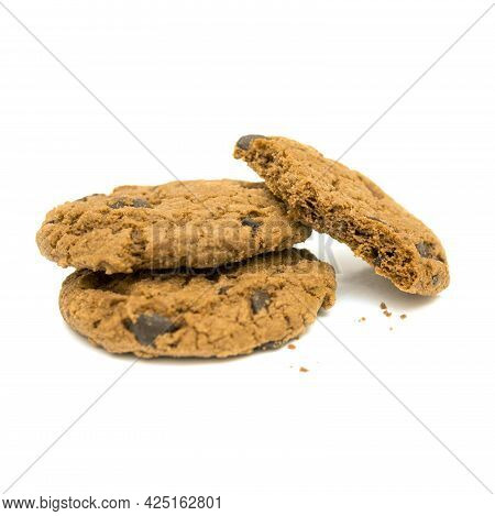 Chocolate Chip Cookies And Crumbs Isolated On White Background.