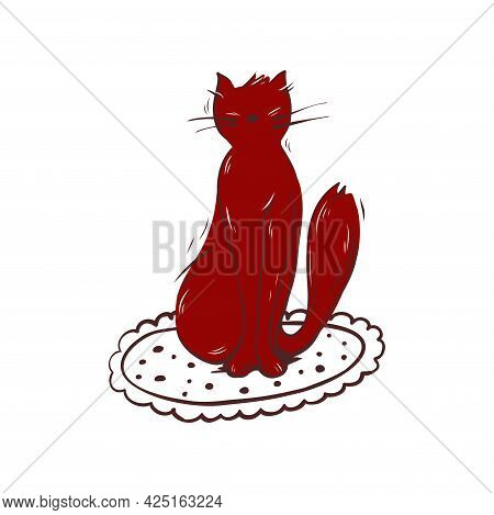 Silhouette Of A Cat. Cat Sitting Hand-drawn Illustration. Vector.