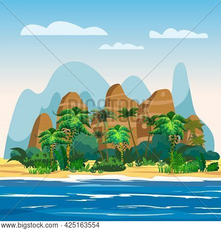 Tropical Island, Rock Mountains, Exotic Plants, Palms, Jungle, Sea, Ocean, Clouds. Summer Vacation R