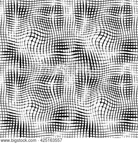 Abstract Black And White Vector Seamless Pattern. Smooth Black Lines Isolated On White Background. W
